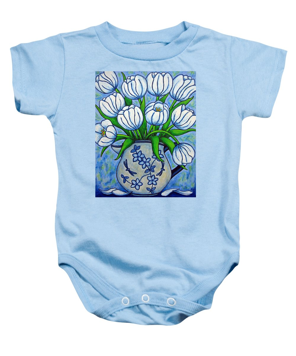 Flower Baby Onesie featuring the painting Tulip Tranquility by Lisa Lorenz
