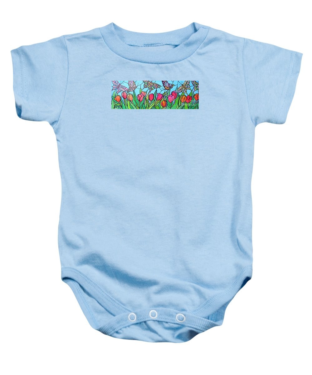 Spring Baby Onesie featuring the painting Tulips And Butterflies by Jim Harris