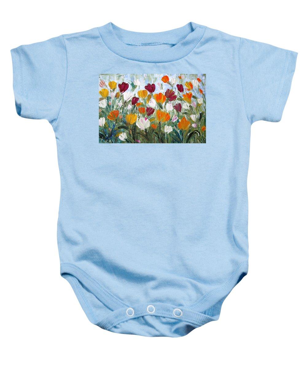 Oil Baby Onesie featuring the painting Tulips Garden by Luiza Vizoli