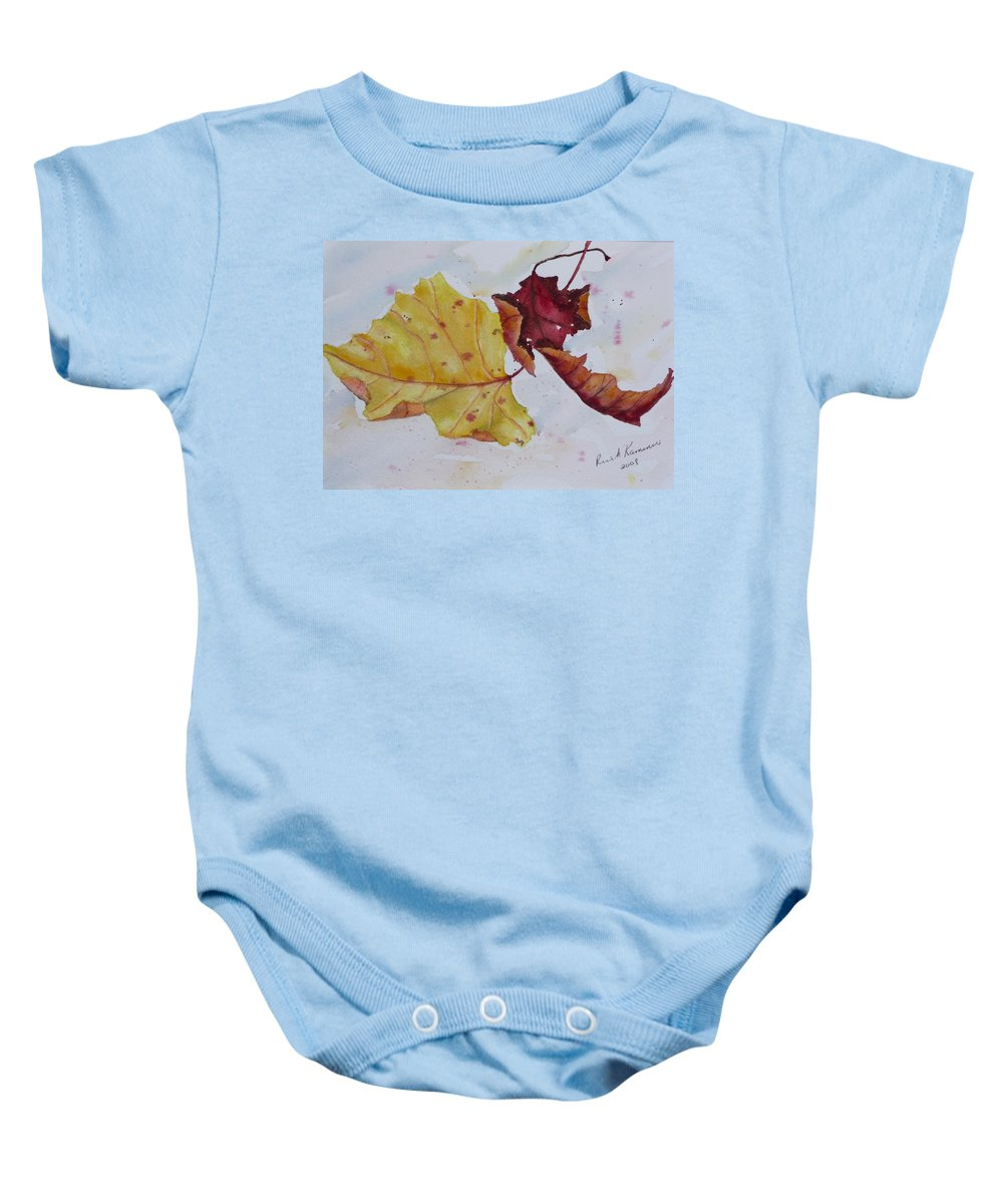 Fall Baby Onesie featuring the painting Tumbling by Ruth Kamenev