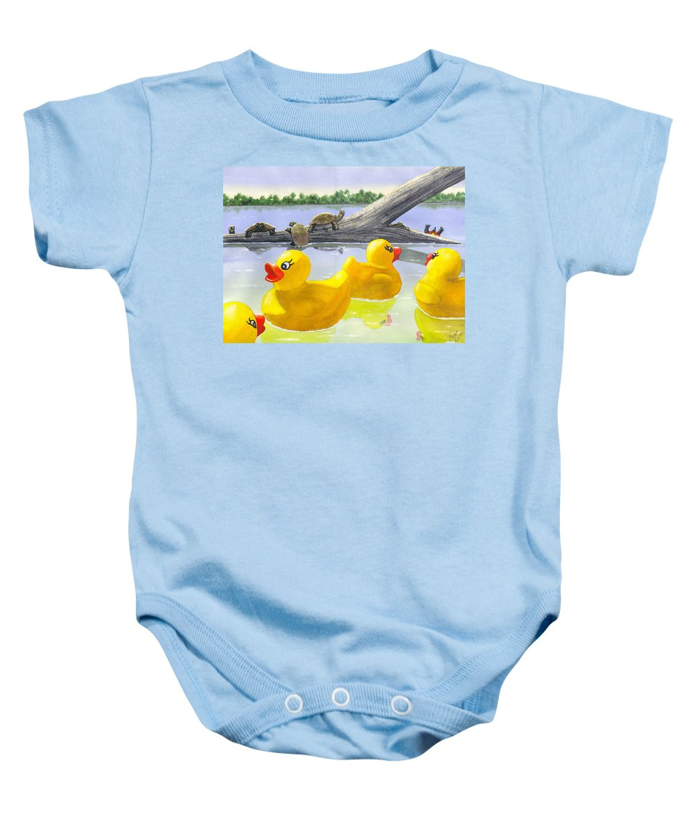Rubber Ducky Baby Onesie featuring the painting Turtle Log by Catherine G McElroy