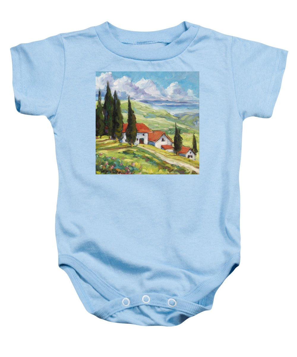 Tuscan Baby Onesie featuring the painting Tuscan Villas by Richard T Pranke
