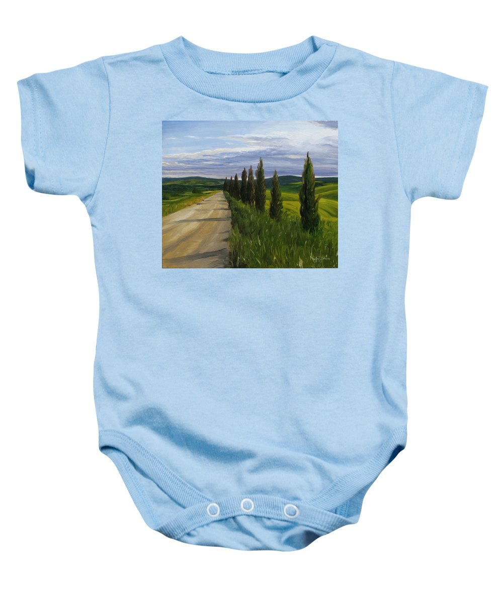 Baby Onesie featuring the painting Tuscany Road by Jay Johnson