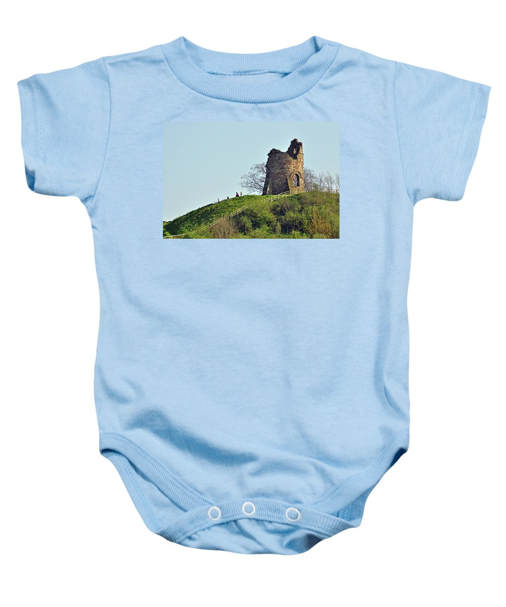 Green Baby Onesie featuring the photograph Tutbury Castle Ruins by Rod Johnson