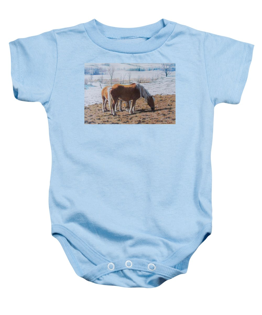 Horses Baby Onesie featuring the mixed media Two Ponies In The Snow by Constance Drescher