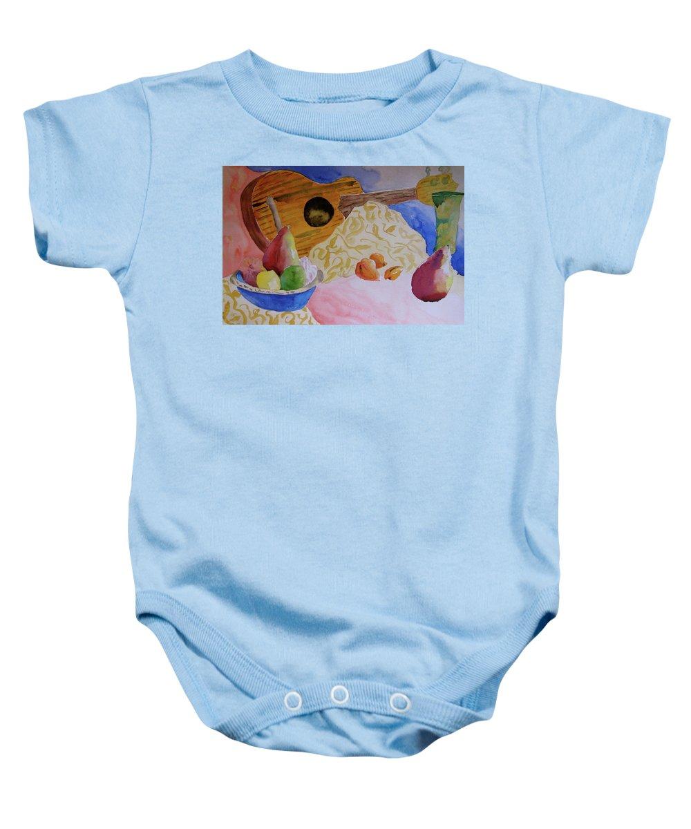 Ukelele Baby Onesie featuring the painting Ukelele by Beverley Harper Tinsley