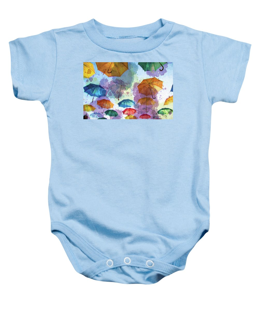 Colorful Baby Onesie featuring the digital art Umbrella Sky by Autumn Moon