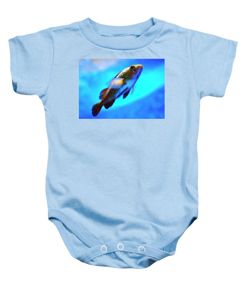 Blue Baby Onesie featuring the photograph Underwater Levity by Igor Malinovskii