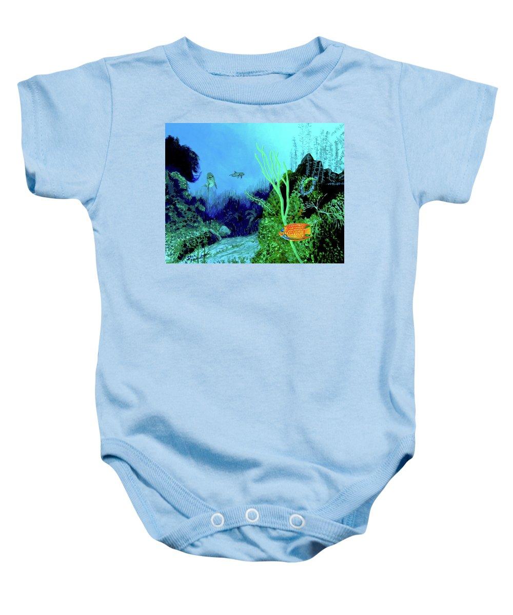 Wildlife Baby Onesie featuring the painting Underwater by Stan Hamilton