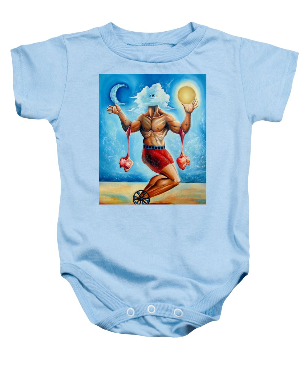 Surrealism Baby Onesie featuring the painting Universal Acrobat by Darwin Leon