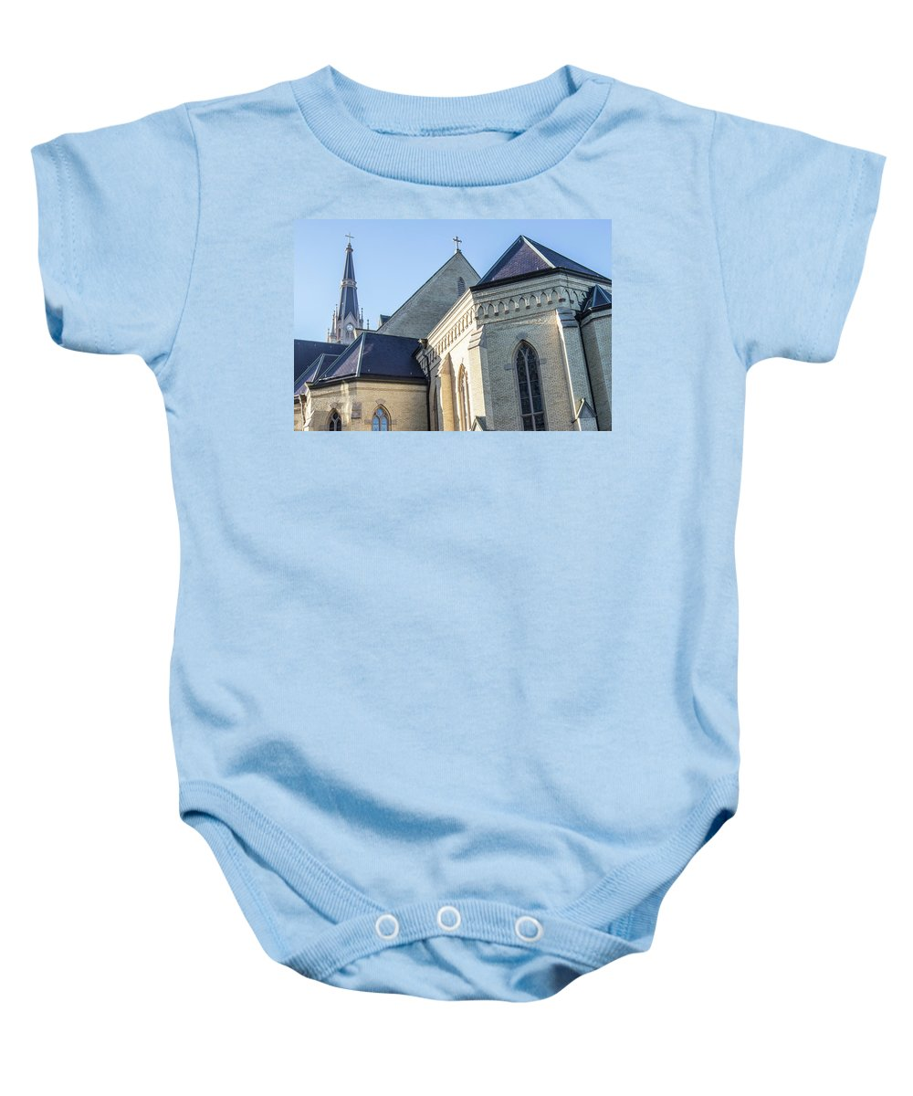 American University Baby Onesie featuring the photograph University Of Notre Dame Basilica by John McGraw