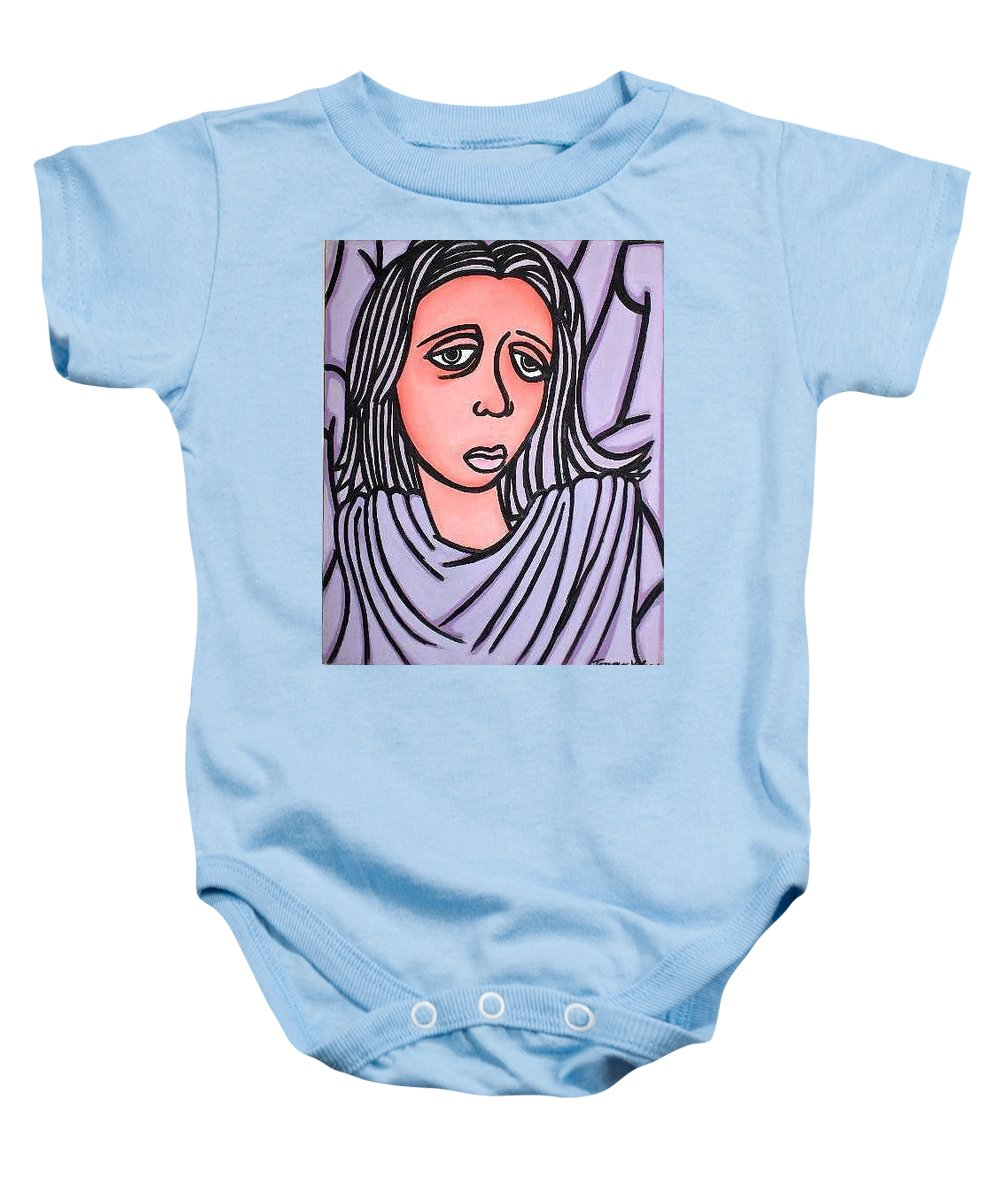 Portrait Baby Onesie featuring the painting Unknown by Thomas Valentine