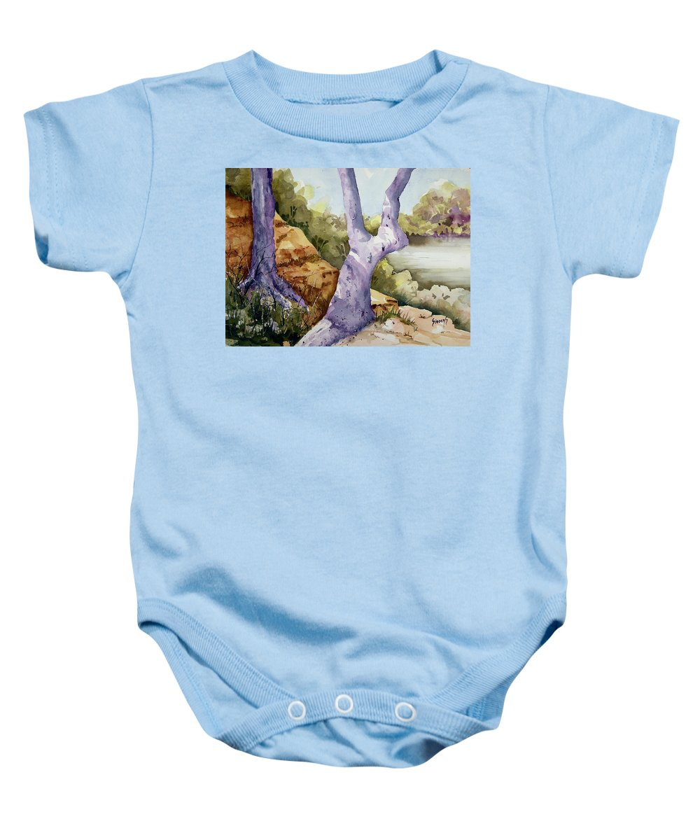 Tree Baby Onesie featuring the painting Untitled by Sam Sidders