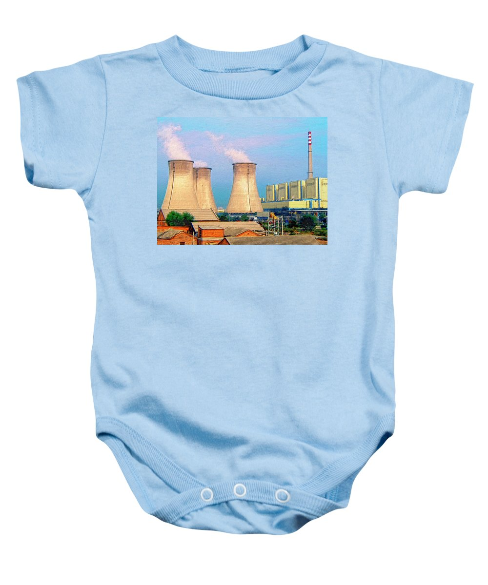 Nuclear Power Baby Onesie featuring the painting Upscale Neighborhood by Dominic Piperata