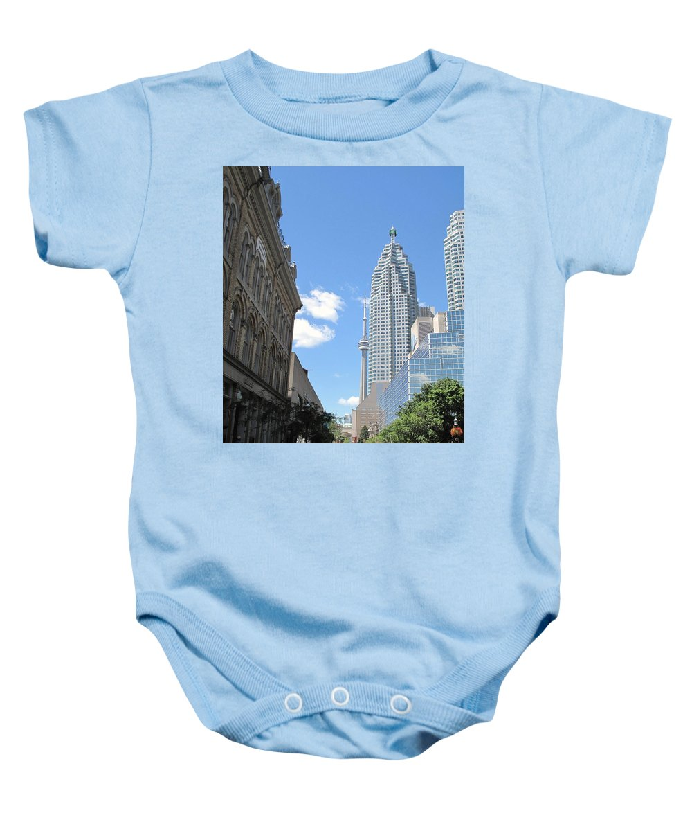Front Street Baby Onesie featuring the photograph Urban Canyon by Ian MacDonald