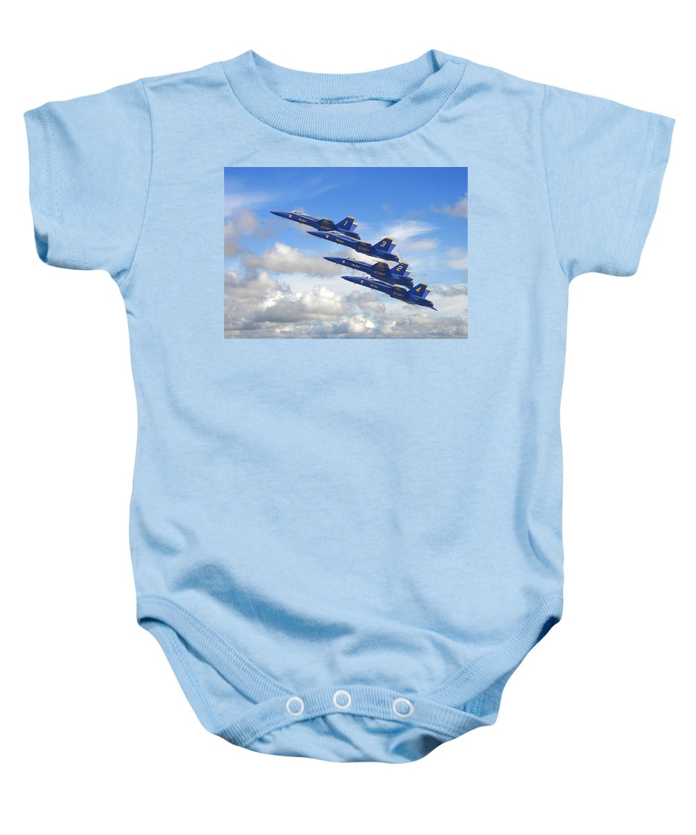 Aircraft Baby Onesie featuring the photograph Us Navy - Blue Angels by Pat Speirs