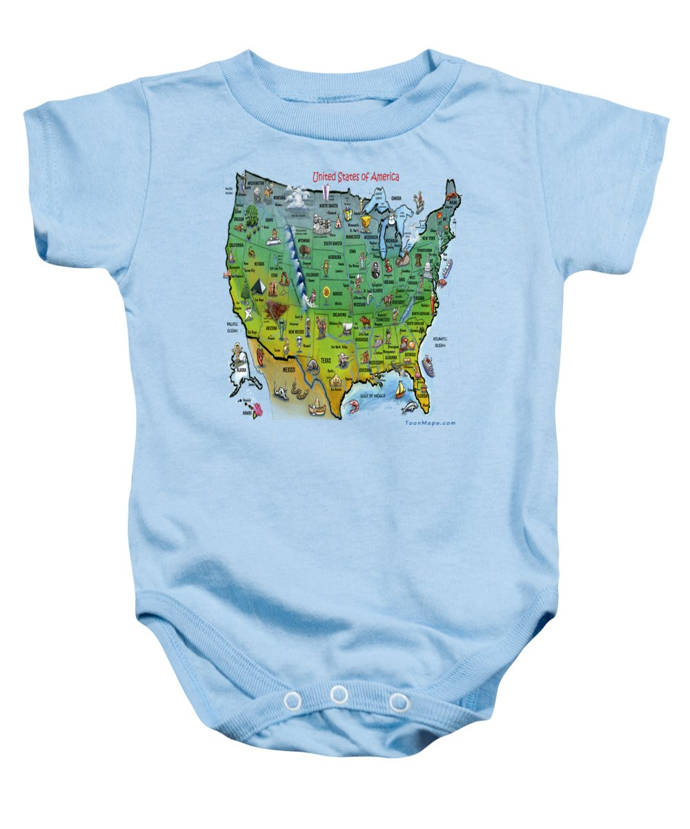 Map Baby Onesie featuring the painting Usa Cartoon Map by Kevin Middleton