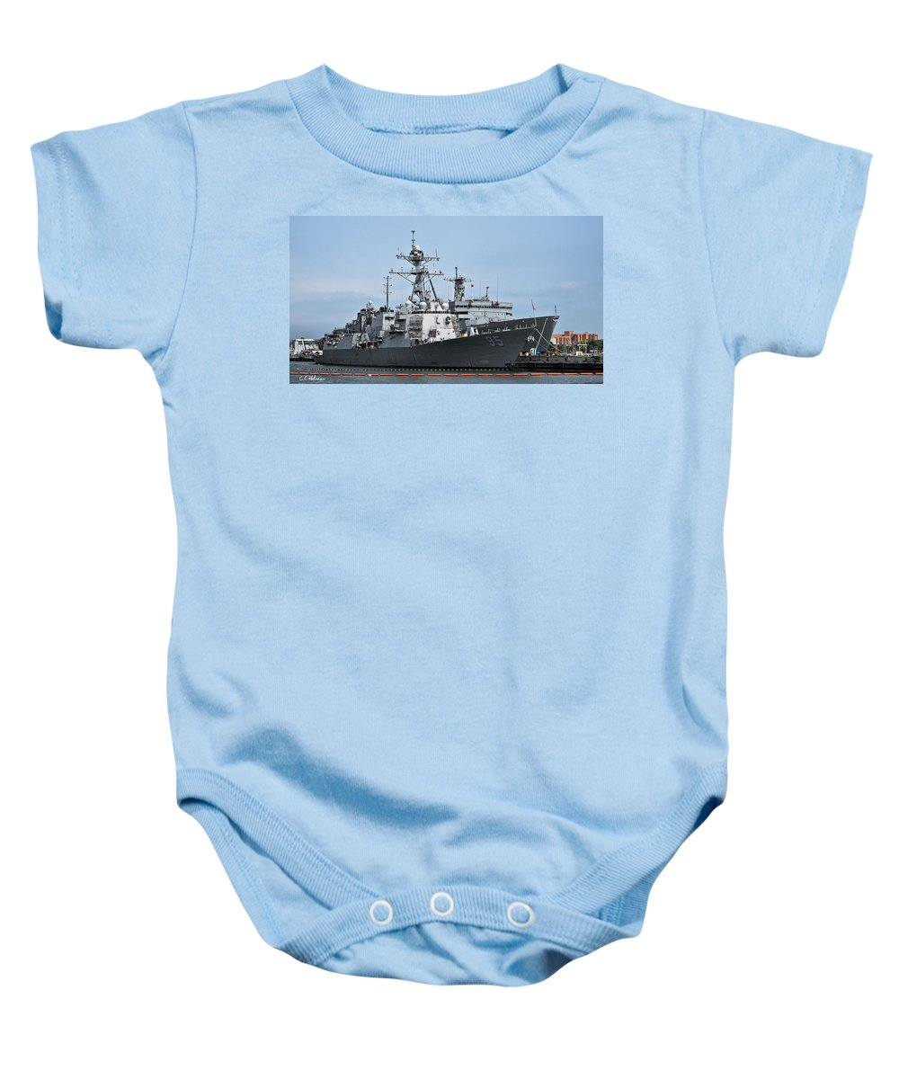 Ship Baby Onesie featuring the photograph Uss James E. Williams Ddg-95 by Christopher Holmes