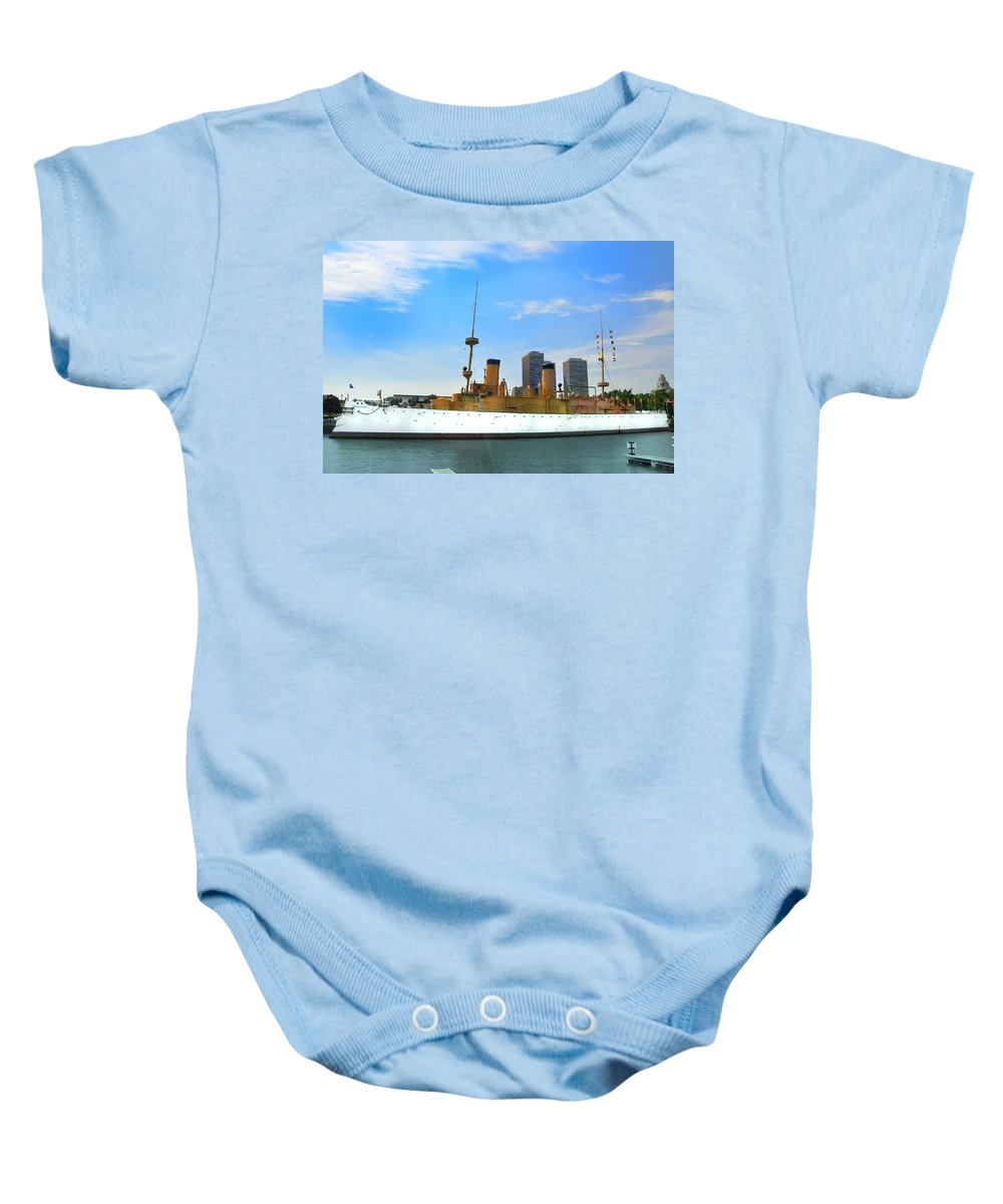 Spanish American War Baby Onesie featuring the photograph Uss Olympia by Bill Cannon
