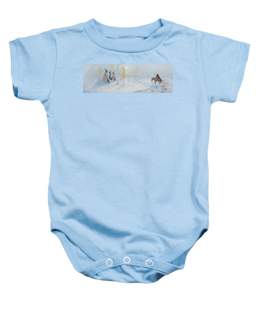 Tepee Baby Onesie featuring the painting Ute Winter Camp by Jerry McElroy