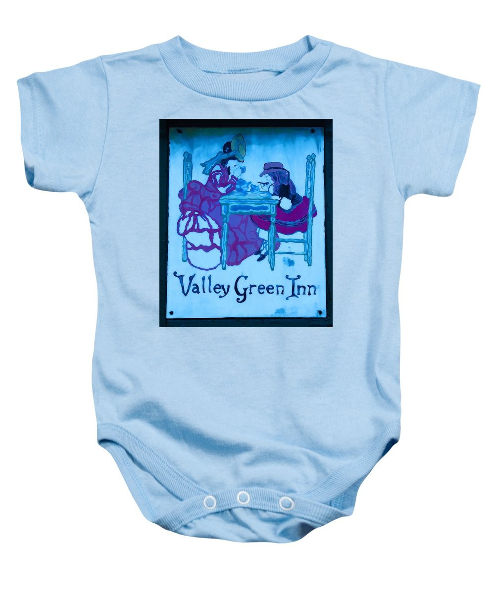 Valley Green Baby Onesie featuring the photograph Valley Green Inn by Bill Cannon