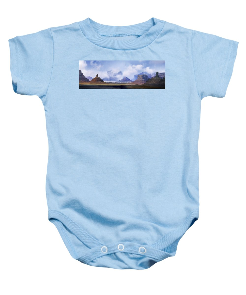 Utah Baby Onesie featuring the photograph Valley Of The Gods by Leland D Howard