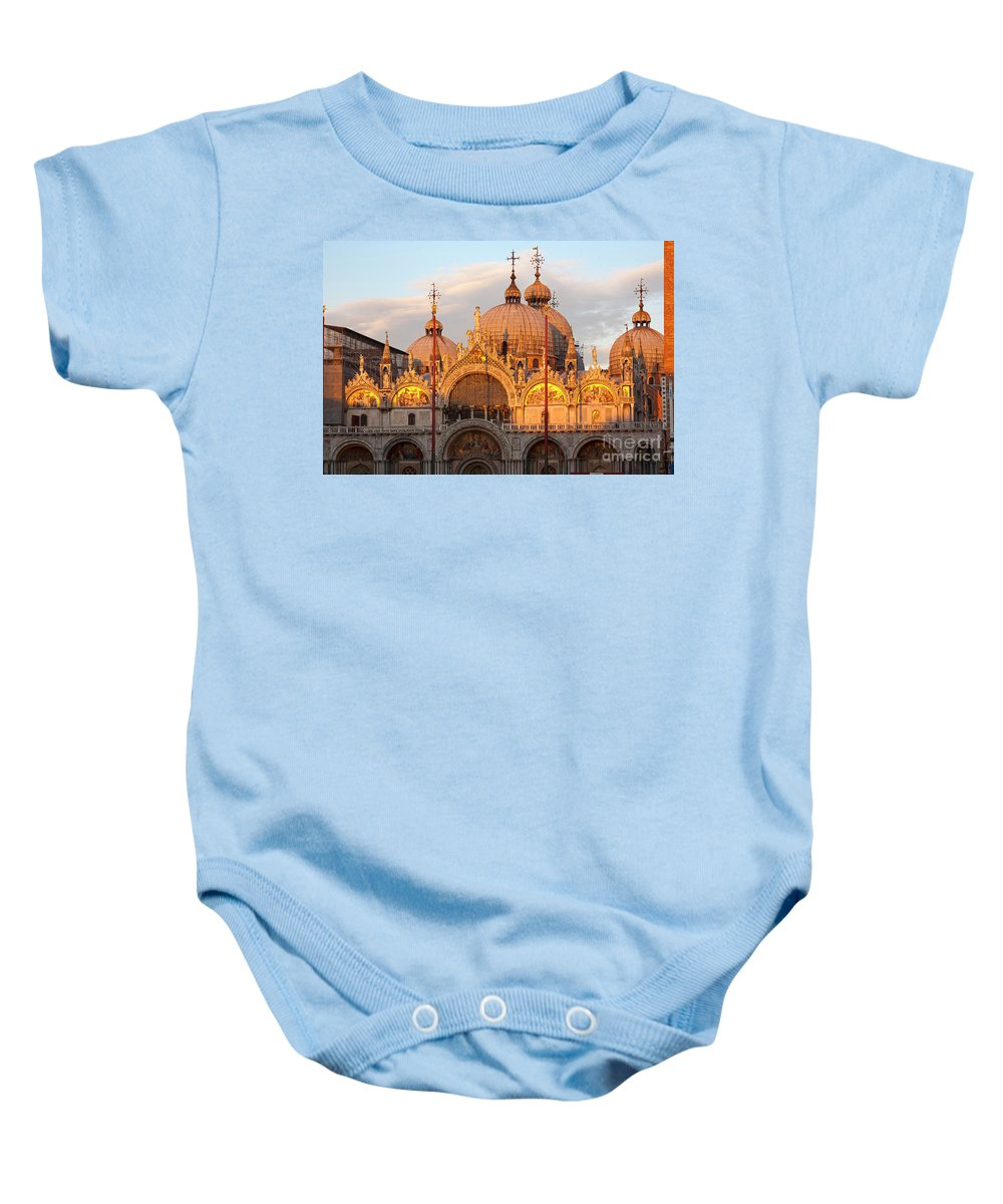 Venice Baby Onesie featuring the photograph Venice Church Of St. Marks At Sunset by Heiko Koehrer-Wagner