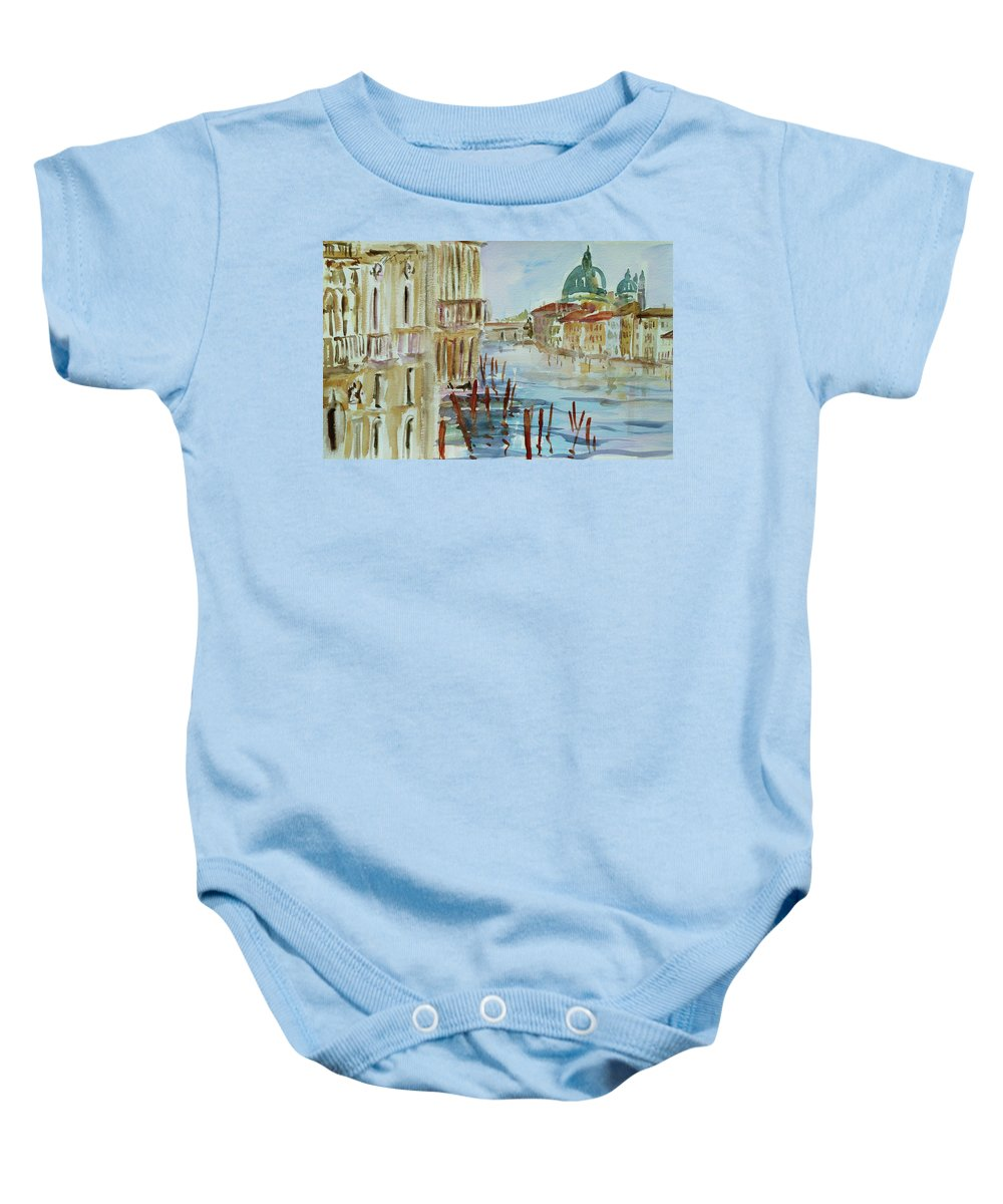 Venice Baby Onesie featuring the painting Venice Impression IIi by Xueling Zou