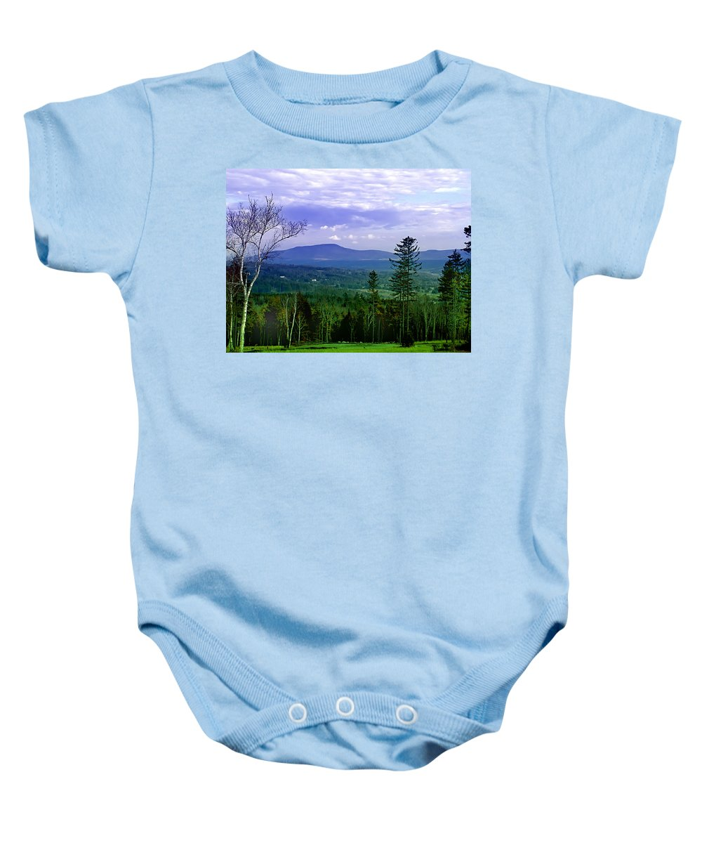 Vermont Baby Onesie featuring the photograph Vermont Skies by Bill Cannon