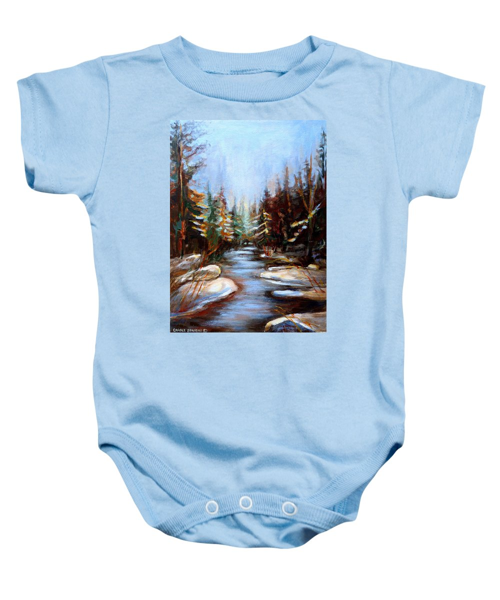 Vermont Baby Onesie featuring the painting Vermont Stream by Carole Spandau