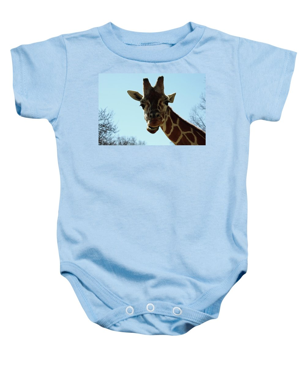 Maryland Baby Onesie featuring the photograph Very Tall Giraffe by Ronald Reid