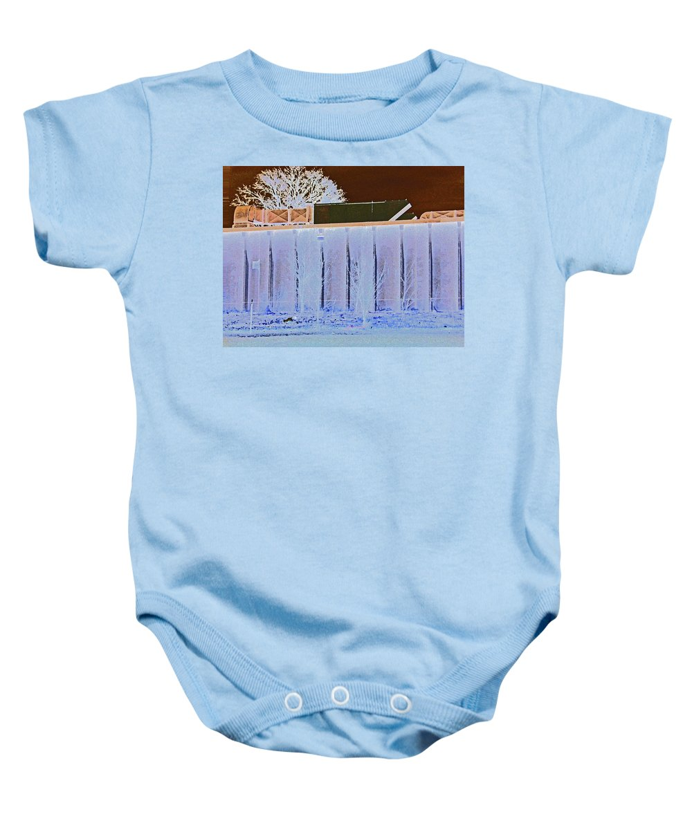 Abstract Baby Onesie featuring the digital art View From The Bank 4 by Lenore Senior