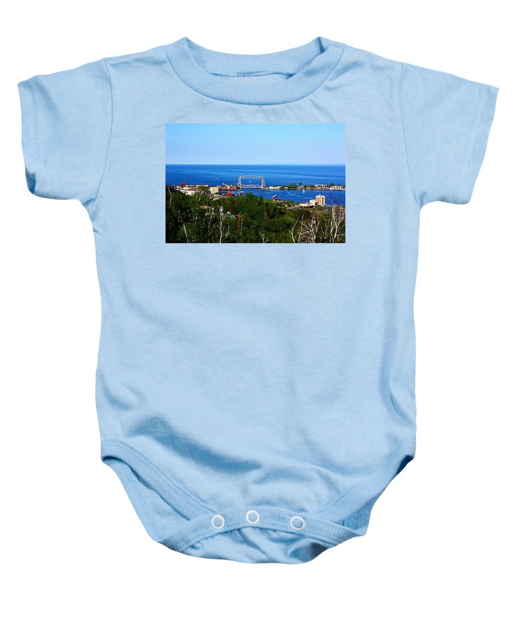 Landscape Baby Onesie featuring the photograph View From The Hill by Bryan Benson