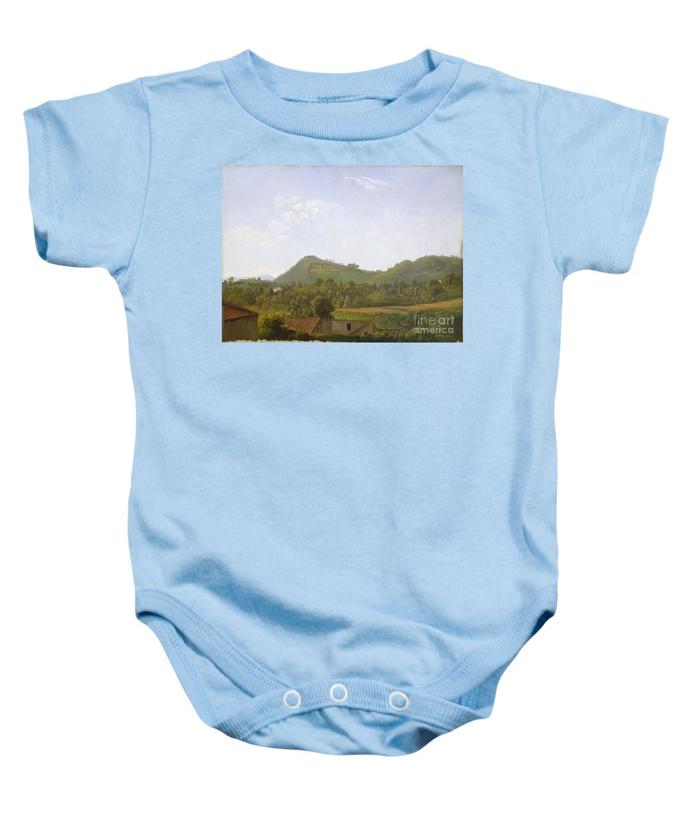 Baby Onesie featuring the painting View Near Naples by Simon Denis