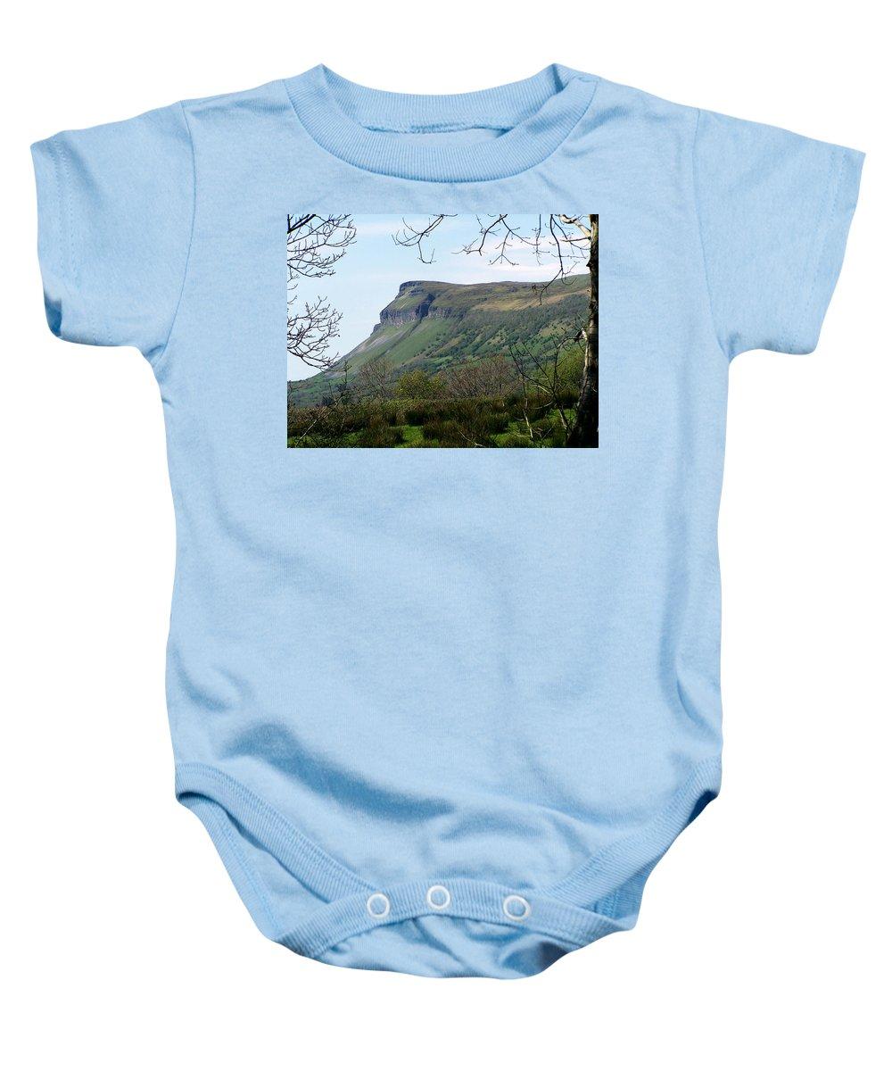 Irish Baby Onesie featuring the photograph View Of Benbulben From Glencar Lake Ireland by Teresa Mucha