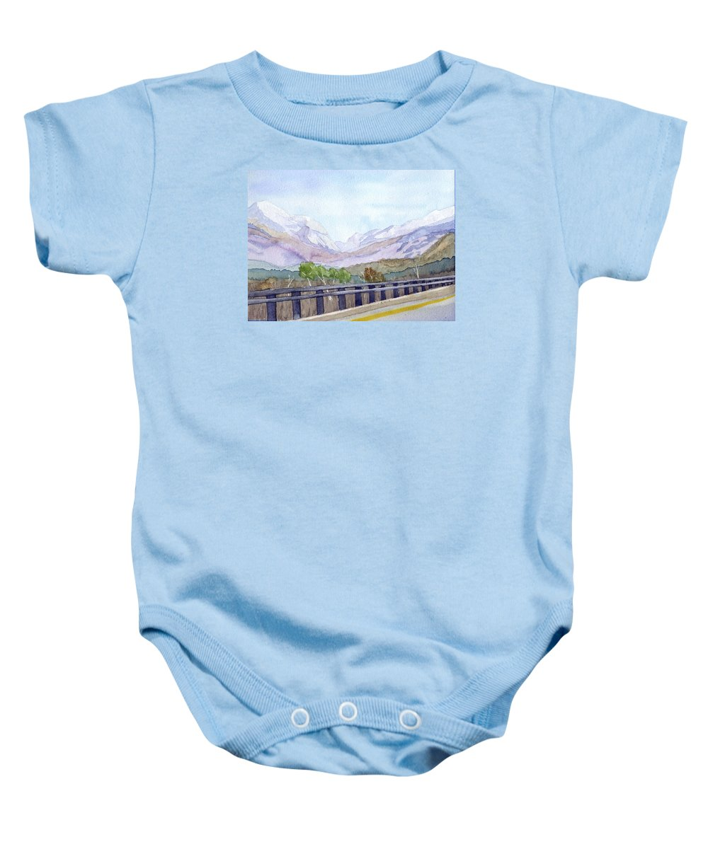 Franconia Notch Baby Onesie featuring the painting View Of Franconia Notch by Sharon E Allen