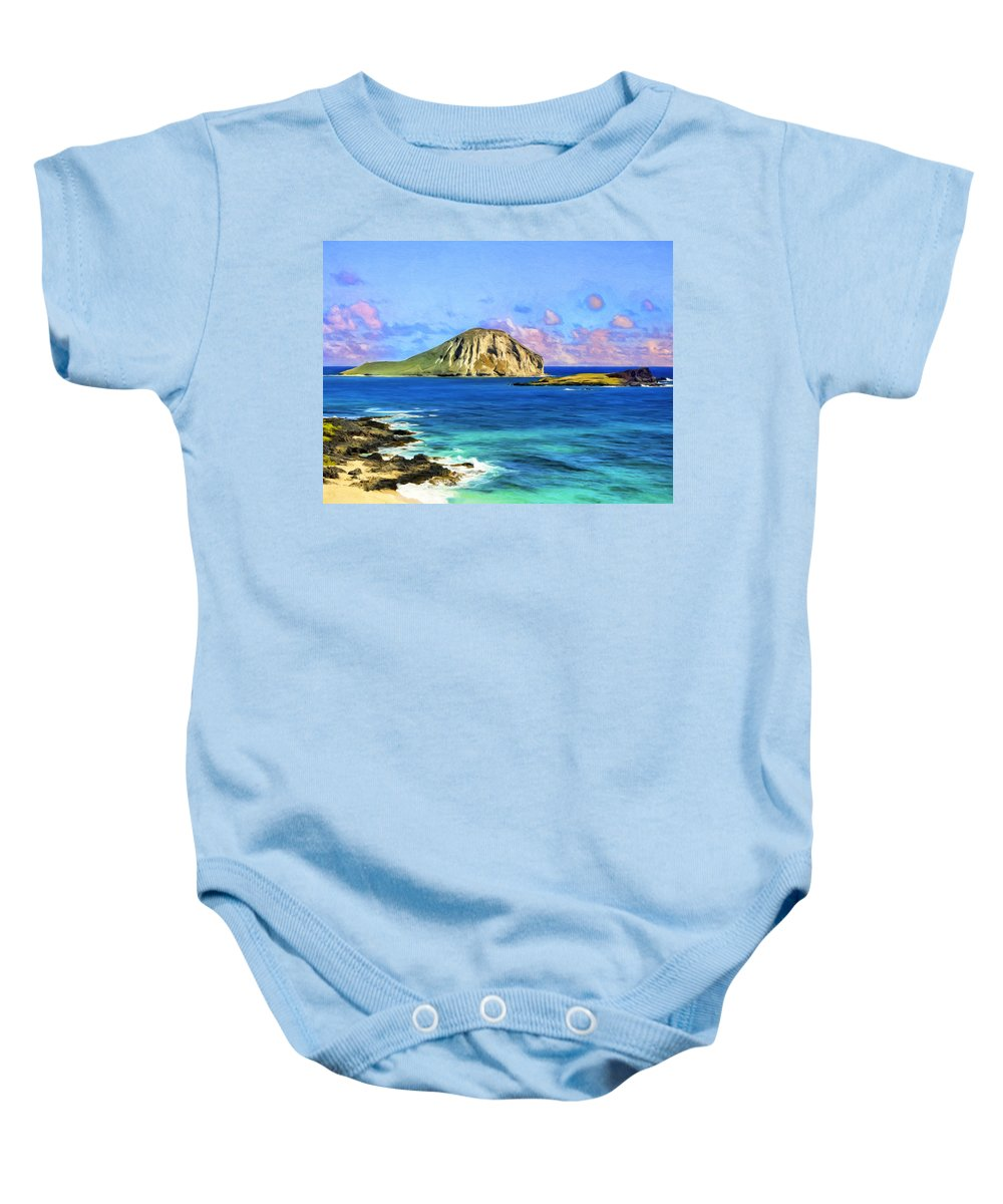 Rabbit Island Baby Onesie featuring the painting View Of Makapuu And Rabbit Island by Dominic Piperata