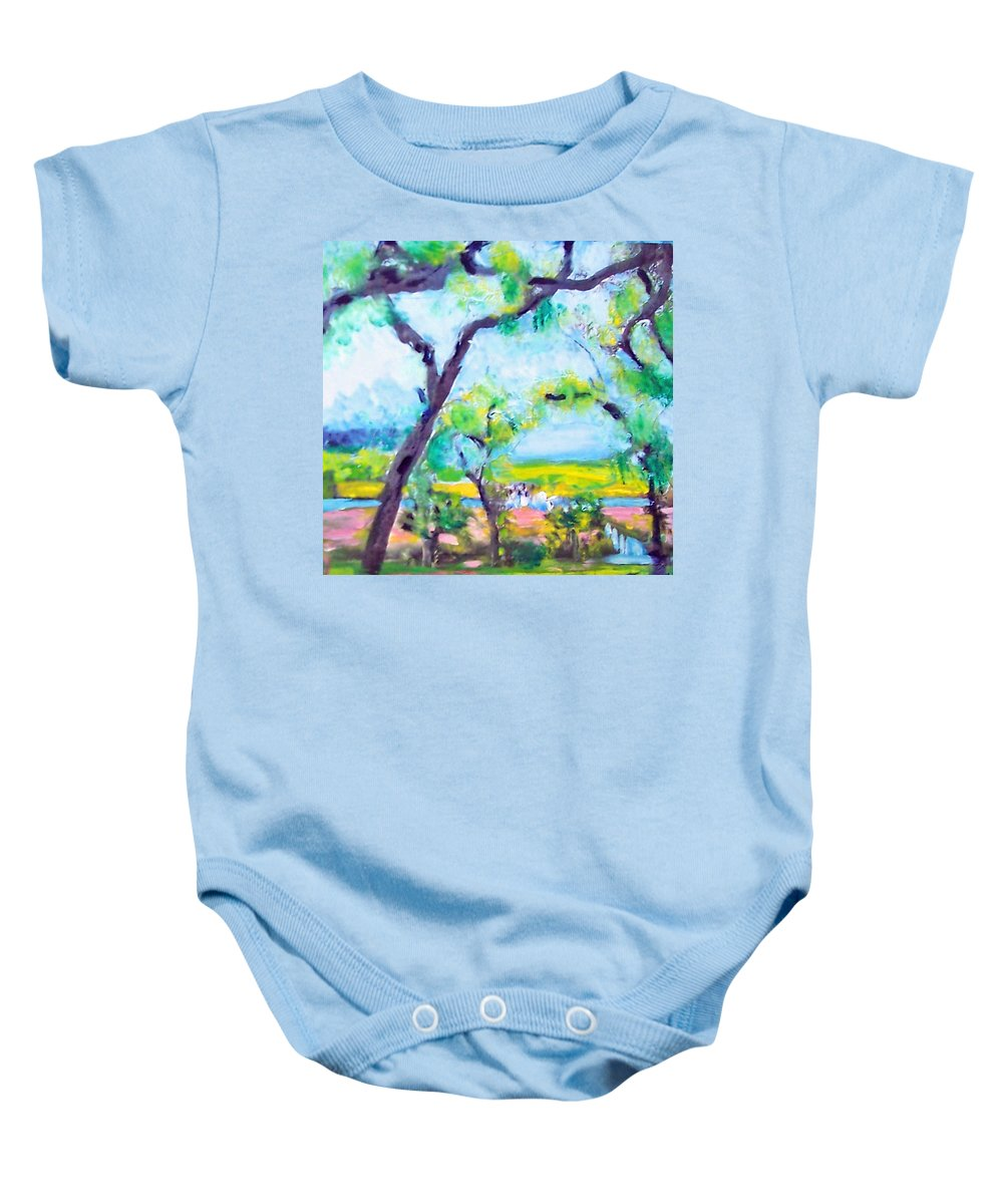 Trees Baby Onesie featuring the mixed media View Of The Marsh by Patricia Taylor