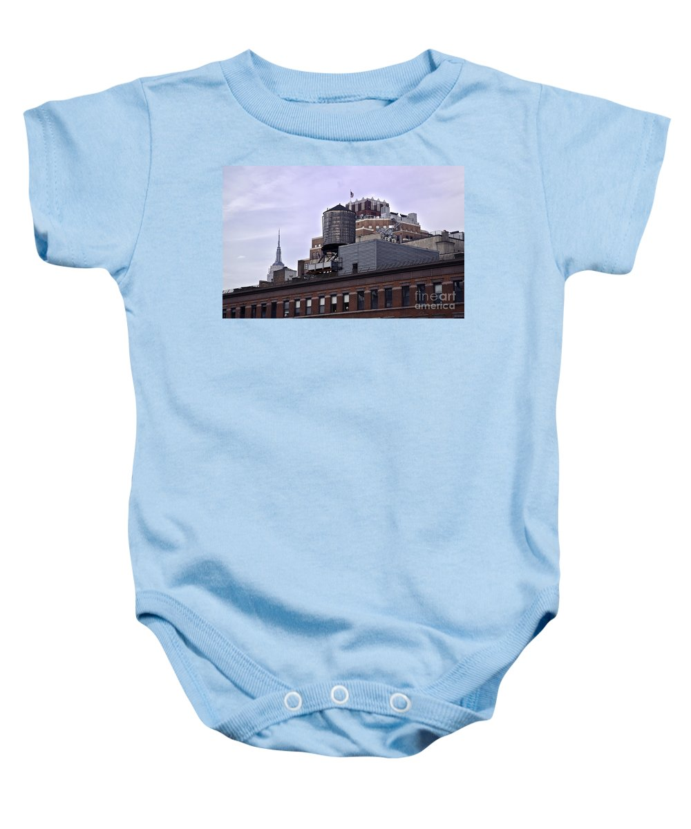 Water Baby Onesie featuring the photograph View Of Water Tank From High Line Park by Madeline Ellis