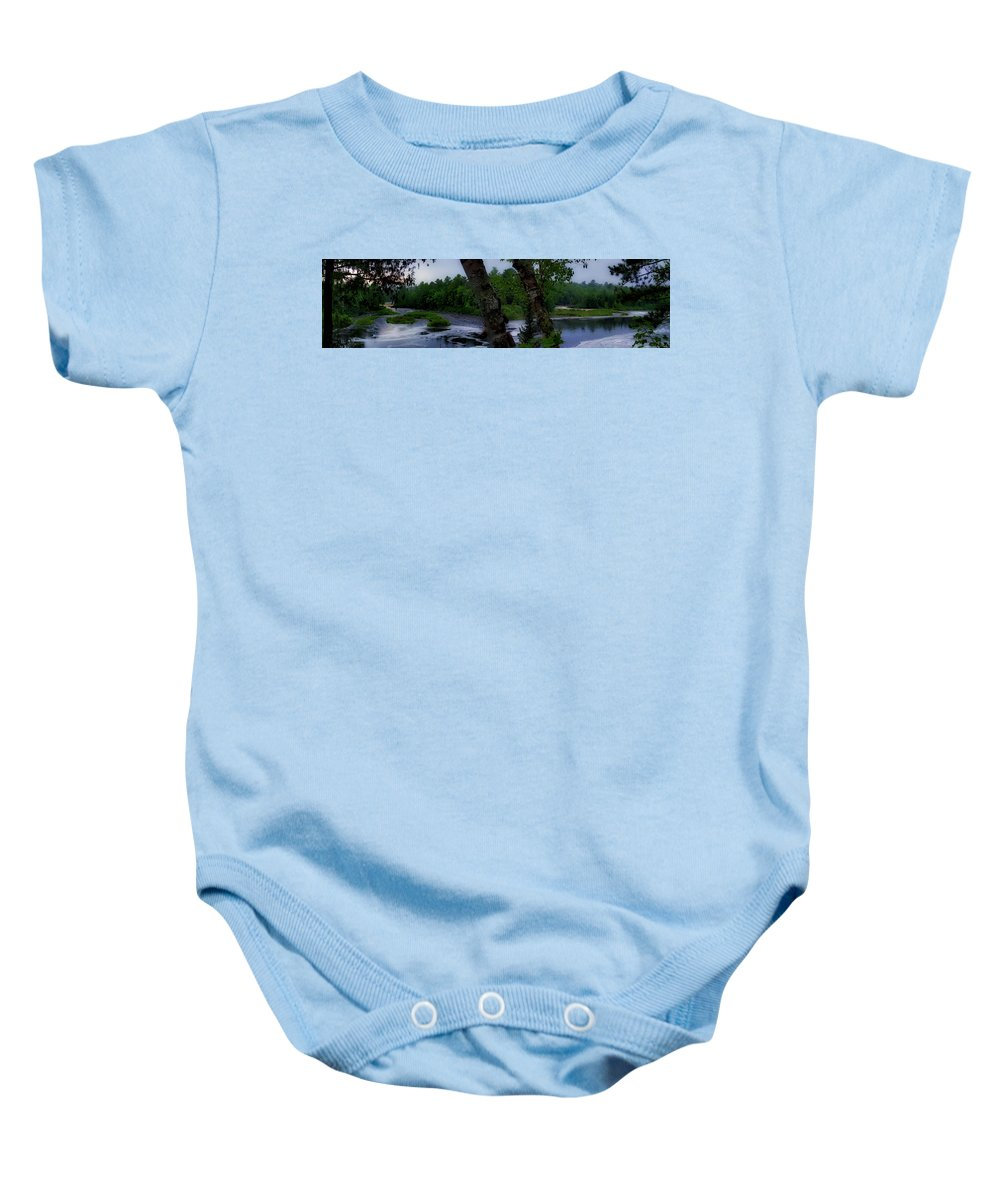 Tahquamenon Falls State Park Baby Onesie featuring the photograph Viewing Tahquamenon Lower Falls Upper Peninsula Michigan Panorama 02 by Thomas Woolworth