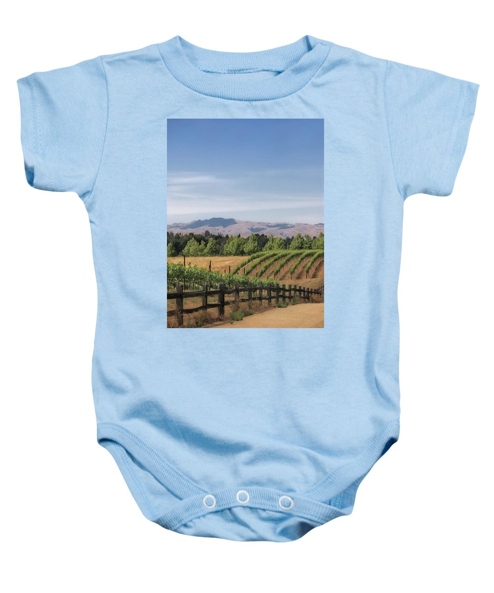 Landscapes Baby Onesie featuring the photograph Vineyard by Karen W Meyer