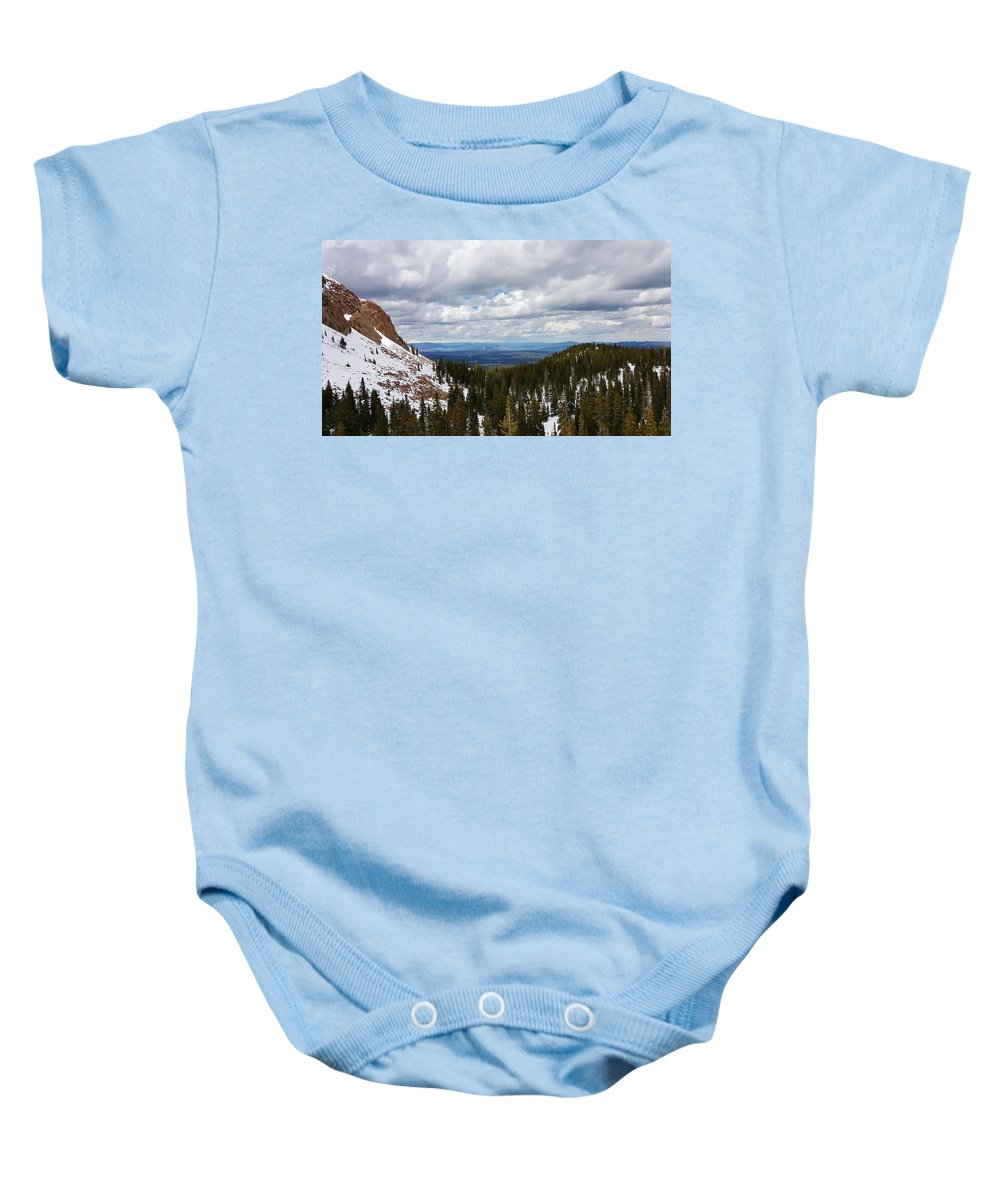 Pikes Peak Baby Onesie featuring the photograph Vista With Snow And Red Rock by William Slider