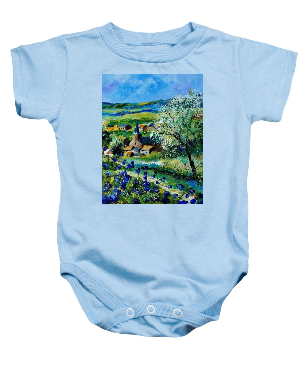 Landscape Baby Onesie featuring the painting Vitrival by Pol Ledent