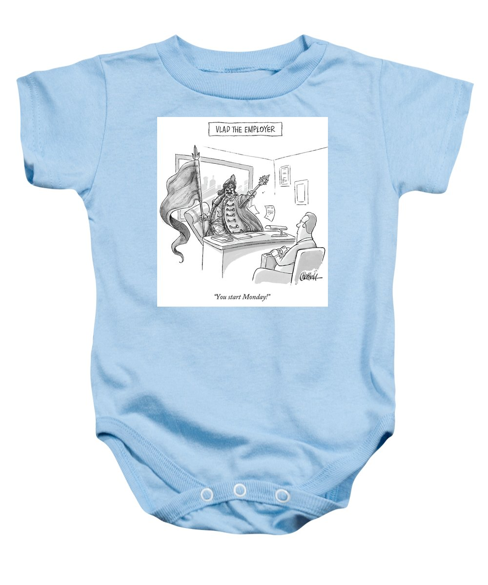 Monday Baby Onesie featuring the drawing Vlad The Employer by Jason Chatfield