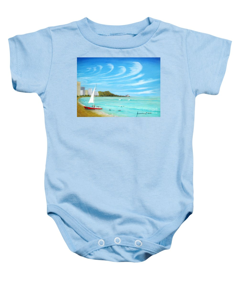 Waikiki Baby Onesie featuring the painting Waikiki by Jerome Stumphauzer