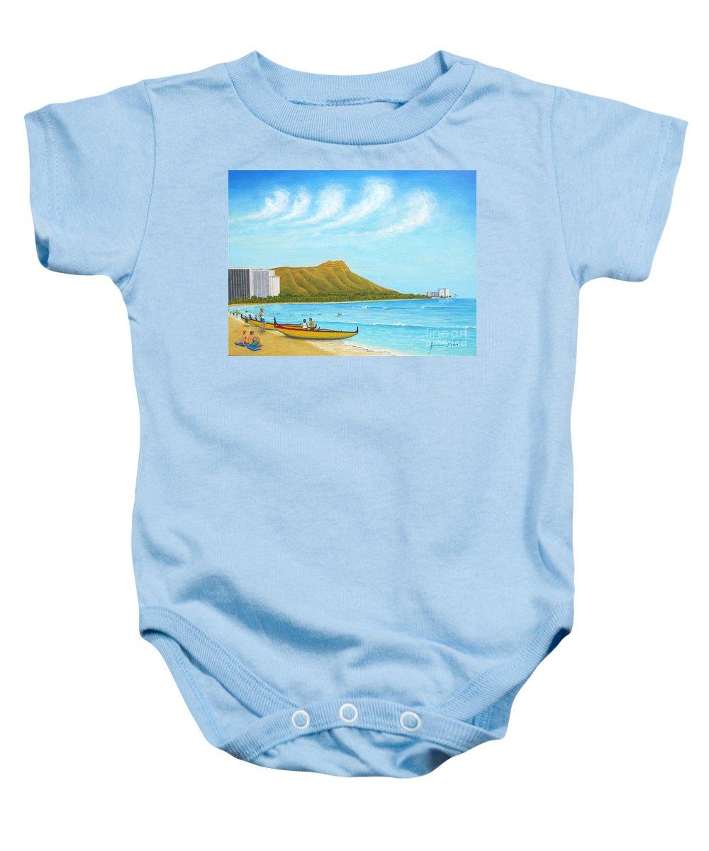 Waikiki Baby Onesie featuring the painting Waikiki Wonder by Jerome Stumphauzer
