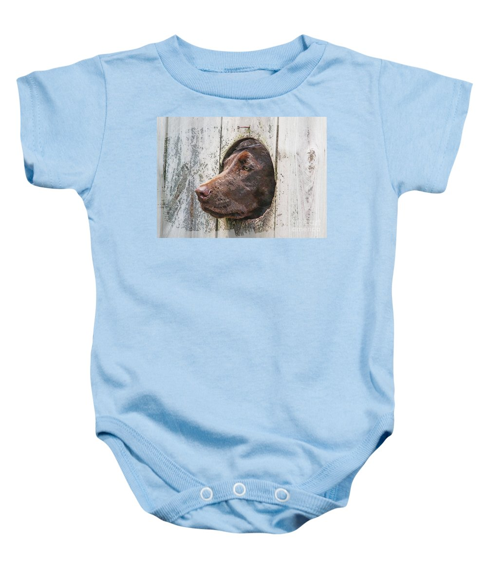 Dog Baby Onesie featuring the photograph Waiting On Master by Robert Pearson
