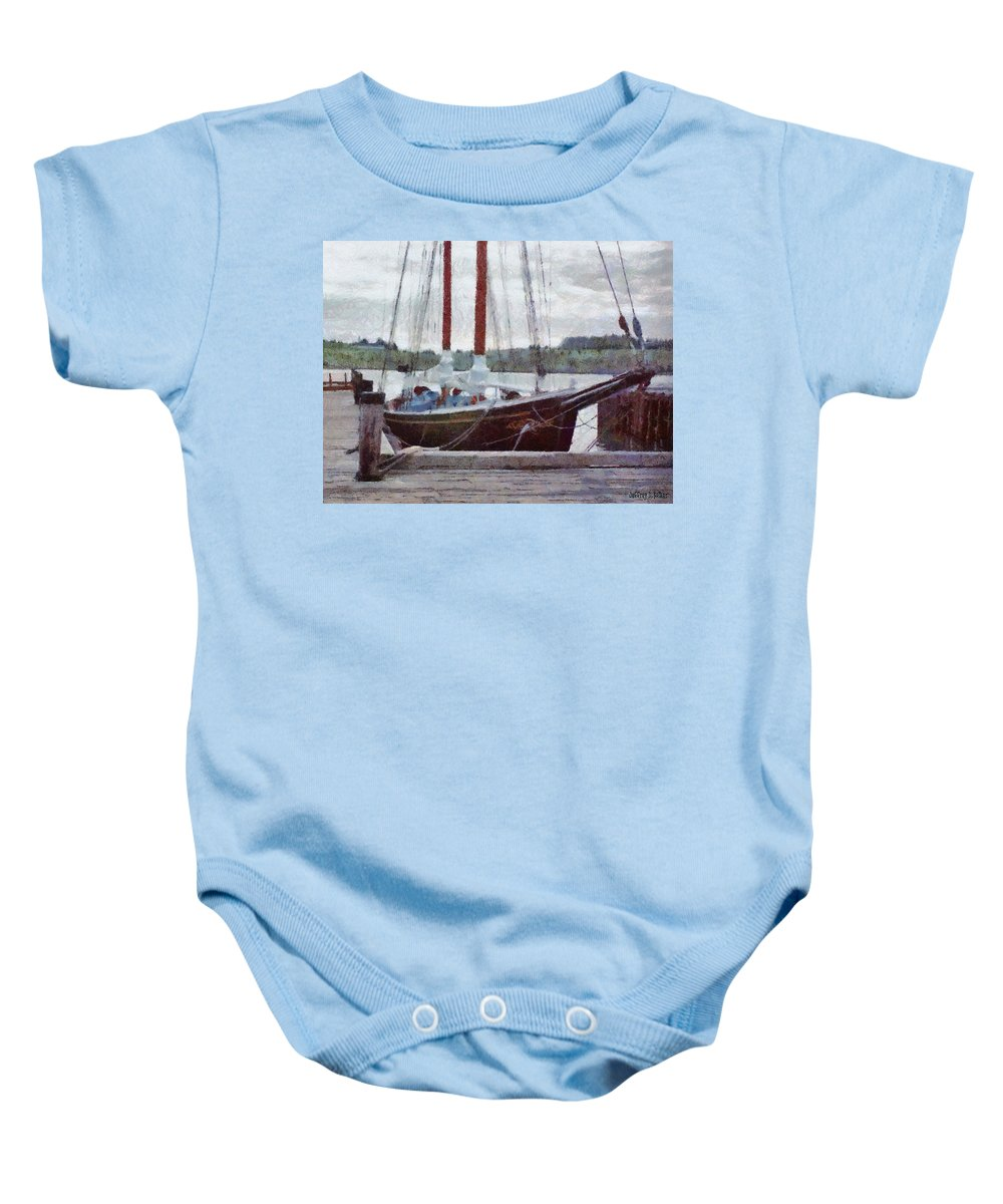 Canadian Baby Onesie featuring the painting Waiting To Sail by Jeffrey Kolker