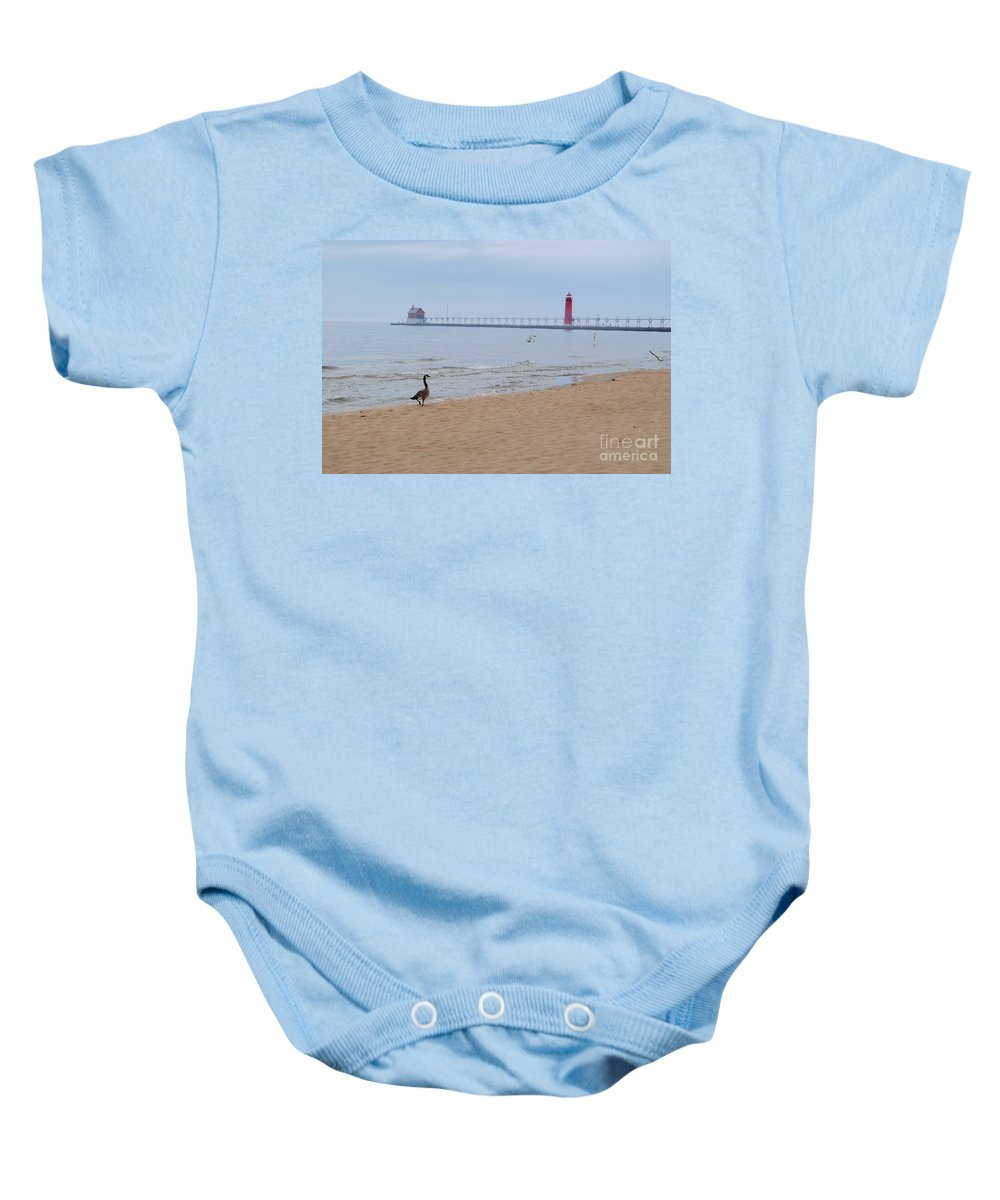 Lake Baby Onesie featuring the photograph Walk On Lake Michigan by Jost Houk