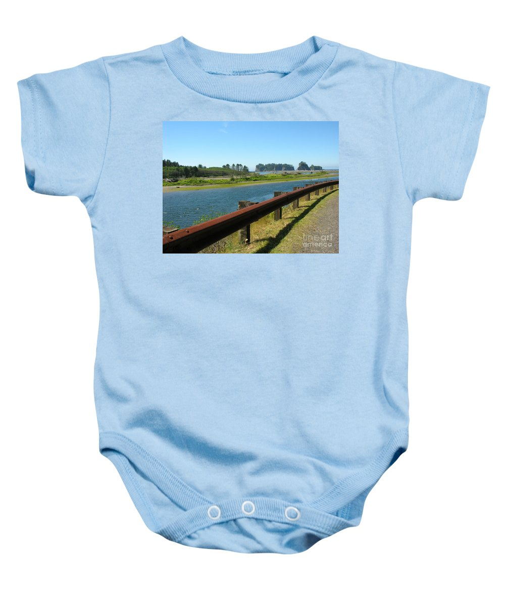 Washington Coast Baby Onesie featuring the photograph Washington Coast by Diane Greco-Lesser